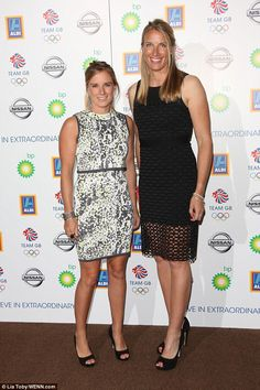 Ahoy there! Sailors Hannah Mills (left) and Saskia Clark showed off their fit physiques in...