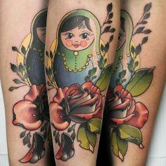 nesting doll with rose tattoo by cody eich