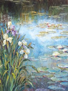 Amazon.com: Portfolio Canvas Decor Large Printed Canvas Wall Art Painting, 30 X 40 Inch, Iris Lily Pads I, Framed and Stretched Ready to Hang: Posters & Prints