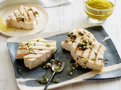 Grilled Swordfish with Lemon, Mint and Basil : Giada's lemon, mint and basil dressing is bright and refreshing –– just the thing to dress up swordfish's meaty flavor.