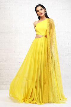 Yellow Cut Out Anarkali Dupatta. Yellow anarkali with cut out waist and embellished yellow-lime dupatta. Indian Attire, Indian Wear, Indian Outfits, Indian Style, Indian Clothes, Indian Designer Outfits, Designer Dresses, Indian Gowns Dresses, Pakistani Dresses