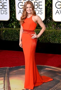Golden Globes 2016: The Best, Most Beautiful Dresses From the Big Night! | People - Amy Adams in a red halter Atelier Versace dress
