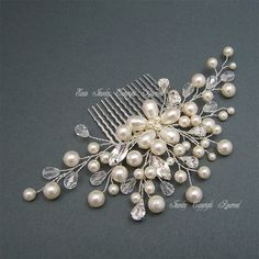 Bridal Hair Accessories, Wedding Hair Comb, Swarovski Pearl Rhiesntone Crystal Wire Wrapped Vine Flower Fascinator