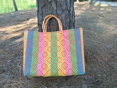 Mexican Market Bag, Beach bag, summer tote, Plastic tote, Plastic ...
