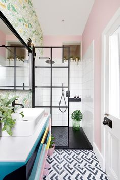 In designing our en-suite, I wanted black accents throughout the space so the colourful pink and vanity would pop against the industrial vibe. I was & The post Black slate shower tray appeared first on MM Bathrooms. Black Shower Tray, Slate Shower, Shower Trays, Bathroom Design Small, Bathroom Colors, Modern Bathroom, Colorful Bathroom, Bad Inspiration, Bathroom Inspiration