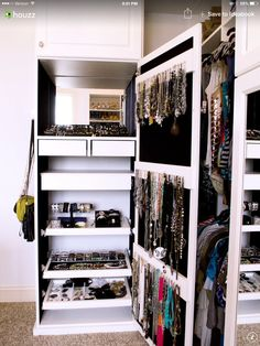 Jewelry cabinet as a built-in in your closet!!