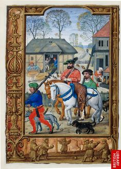 November f. 28v-29  In this miniature, aristocratic pursuits again take the foreground and the agricultural tasks of threshing and winnowing corn are moved to the background. A nobleman returns from a successful hunt with a stag, an animal associated with nobility. A woman can be seen fattening pigs to the right of the picture.