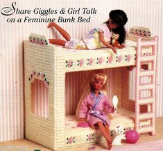 Items similar to Rare Fashion Barbie Kelly Doll BUNK BED Summer Rose Slumber Party handmade plastic canvas girl Leaflet PATTERN Birthday gift on Etsy Plastic Canvas Crafts, Plastic Canvas Patterns, Barbie Doll House, Barbie Dolls, Dolls Dolls, Doll Bunk Beds, Diy Barbie Furniture, Furniture Ideas, Barbie Clothes