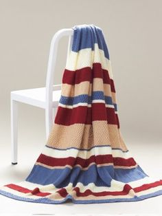 ❤❤❤ NANTUCKET AFGHAN ❤❤❤ New England seaside feel with textured and stripes afghan pattern - Crochet Afghan / Blanket / Throw - Easy ~ Free Pattern Knitted Throw Patterns, Beginner Knitting Patterns, Knitted Afghans, Afghan Patterns, Knitted Blankets, Free Knitting, Knitting Projects, Crochet Patterns, Simple Knitting