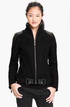 Trina Turk Leather Trim Moto Jacket Is this the winter version of the Ursula Bond Girl bikini? Kind of Laura Croft too..