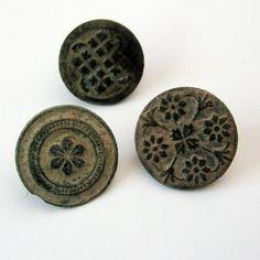 3 Antique Bronze Buttons Circa 17th 18th Century Spain