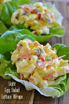 These Light Egg Salad Lettuce Wraps are the perfect quick lunch or snack at around 124 calories for two! I'm trying to cut back on the amount of bread pro Lettuce Wrap Recipes, Salad Recipes, Diet Recipes, Vegetarian Recipes, Cooking Recipes, Healthy Recipes, Vegetarian Grilling, Healthy Grilling, Burger Recipes