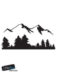Vinyl Wall Decal Sticker Snow Mountain View w Trees Stickerbrand wall ar Mountain Silhouette, Tree Silhouette, Forest Landscape, Landscape Art, Wall Decal Sticker, Wall Stickers, Wall Vinyl, Vinyl Art, Vinyl Decals