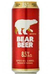 Cerveja Bear Beer Special Label, estilo Malt Liquor, produzida por Harboes Bryggeri, Dinamarca. 8.5% ABV de álcool.
