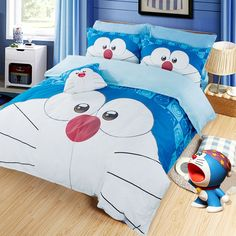 MeMoreCool Cartoon Doraemon 100% Cotton Kids Bedding Sets Upscale Brushed Bedding Cute Doraemon Duvet Cover Soft Bed Sheets - 4 Piece (Queen,Blue) //Price: $68.95 & FREE Shipping //     #hashtag3
