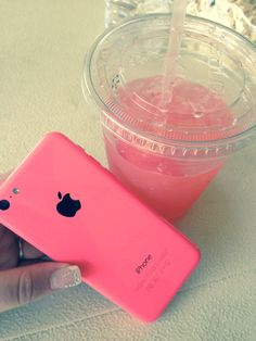 iPhone 5c pink with pink lemonade