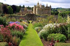 Abbotsford House, formerly the residence of historical novelist and poet, Sir Walter Scott, near Melrose, Scotland.