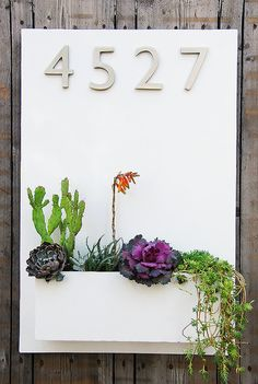 "Modern White Lacquer Wall Planter with (4) Address Numbers - Free Shipping - 20""x30"" Vertical"