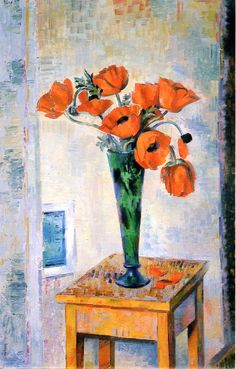 """Andrew Dasburg - Flower Still Life, Poppies, 1931. Andrew Michael Dasburg (4 May 1887 – 13 August 1979) was an American modernist painter and """"one of America's leading early exponents of cubism""""."""