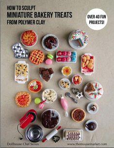 Miniature Food Polymer Clay Tutorial - How to Sculpt Miniature Bakery Treats from Polymer Clay (Dollhouse, Food Jewelry Tutorial eBook) - Mini craft Polymer Clay Dolls, Polymer Clay Miniatures, Polymer Clay Projects, Polymer Clay Charms, Polymer Clay Creations, Polymer Clay Tutorials, Easy Polymer Clay, Polymer Clay Cake, Crea Fimo