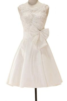 Albizia Ivory Straps with Beaded and Bows Short Mini Taffeta Wedding Dresses -- Remarkable product available now. : Plus size fashion