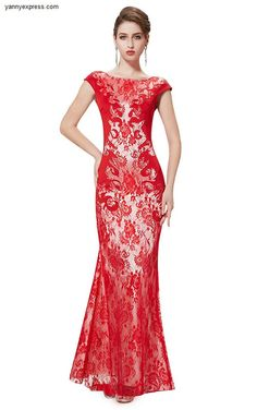 Textured Lace Mermaid Bateau Neckline Evening Ball Gown