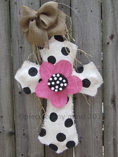Burlap Cross Burlap Door Hanger Black and White with Flower. $32.00, via Etsy.