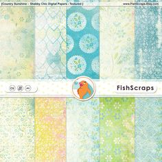Country Sunshine Shabby Chic Digital Paper, Easter Floral Patterns, Fresh Spring Scrapbooking Background Paper, Instant Download