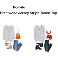 Pomelo Brentwood Jersey Stripe Tiered Top