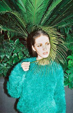 Green furry sweater