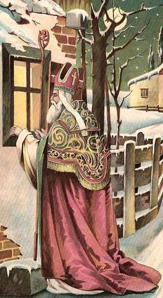 Nicholas in Pope-like gown looking in window Prim Christmas, Christmas Past, Victorian Christmas, Father Christmas, Vintage Christmas Cards, Retro Christmas, Vintage Cards, Vintage Postcards, Vintage Images