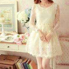Spring floral print lace onepiece