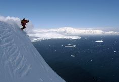 extreme skiing off Bruce Island Pk after the probable second ascent. Flandres Bay and Mt Matin in background. Antarctic Peninsula © Dave, Jan 2012