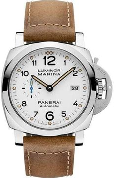 6923d2c86fc Panerai Luminor Marina Stainless Steel   Leather with White Dial Automatic  44mm Mens Watch