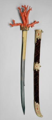 Korallensäbel (Kordelatsch) mit Scheide | | um 1560 | Inv. No.: HJRK_A_791  http://www.khm.at/en/visit/collections/collection-of-arms-and-armour/selected-masterpieces/ http://bilddatenbank.khm.at/images/500/HJRK_A_791_18703.jpg
