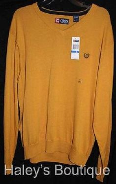 Chaps Mens XL Gold Yellow Sweater V-Neck 100% Cotton Ribbed Trim Casual New #Chaps #VNeck