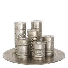 This Marrakech inspired tray of candle holders is a must have. Set the mood and lighting with these unique candle holders. Candles And Candleholders, Scented Candles, Candlesticks, Candelabra, Unique Candle Holders, Lantern Candle Holders, Furniture Boutique, Shabby Chic Furniture, Sweetpea And Willow