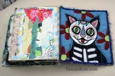 Art Journal Inspiration - Rambling Rose - typepad blog. Gato muerto day of the dead fabric journal page nine