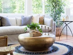 15 Brass Coffee Tables You'll Love - Cool Things to Buy 247 Coffee Table Decor Living Room, Drum Coffee Table, Coffee Tables For Sale, Coffee Table Rectangle, Coffee Table Styling, Glass Top Coffee Table, Decorating Coffee Tables, Living Room Decor, Cool Things To Buy