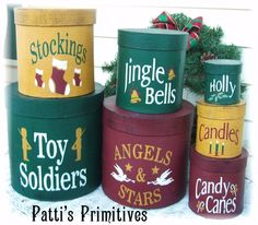 Christmas Shaker Stacking Boxes 7 piece set by pattisprimitives, $49.00