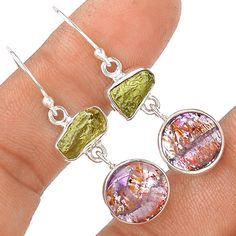 Cacoxenite Super Seven & Moldavite 925 Sterling Silver Earring Jewelry EE4345 | eBay