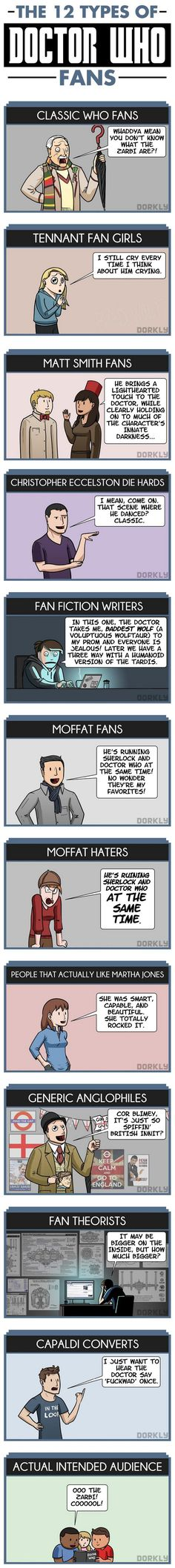 The 12 Types of Doctor Who Fans. I'm 5 of them: Tennant Fan Girl, Christopher Eccelston Die Hard, Moffat Fan, Moffat Hater, and Capaldi Convert.