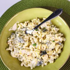 ingredients 1 1/2 pounds Elbow Noodles,Salt, 3 Poblano Peppers, Olive Oil,1 Yellow Onion (chopped)1 Jalapeno (minced), 2 Garlic cloves (minced), cracked Black Pepper, 1 teaspoon Red Chile Flake, 2 teaspoons fresh Oregano leaves, 1 cup Mexican Crema