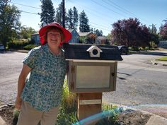 Installed on the corner of North Jefferson and West 23rd in Spokane, WA, this little free library has a round-windowed dormer, unique custom siding, and a matching side window and gable vent, all of which were meticulously replicated and then 3D printed in miniature. Built by Little Library Builder of Spokane! www.littlelibrarybuilder.com Little Free Libraries, Little Library, Free Library, Gable Vents, Side Window, Miniature, Corner, 3d, Printed