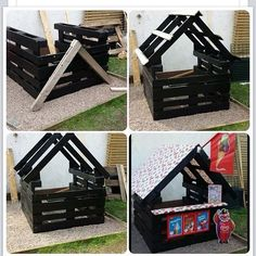 Pallet kids shop how to Backyard Playground, Backyard For Kids, Backyard Projects, Outdoor Projects, Garden Projects, Diy For Kids, Outdoor Play Spaces, Outdoor Fun, Pallet Kids