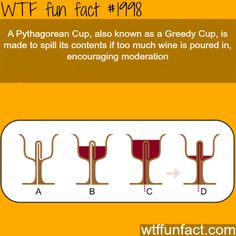 A Pythagorean Cup or Greedy Cup - it allows the user to fill the cup with wine up to a certain level. If they fill the cup only to that level, the imbiber may enjoy a drink in peace. If they exhibit gluttony, however, the cup spills its entire contents out of the bottom (onto the lap of the immodest drinker).