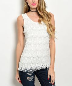 Look what I found on #zulily! Ivory Fringe Lace Tank by Shop the Trends #zulilyfinds