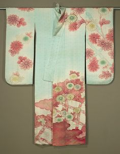 Front of Japanese Furisode  1920s or 1930s.  Rinzu silk with floral design; gold and silver embroidery and gold surihaku