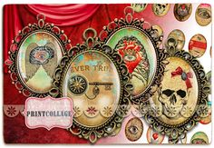 Cabochon oval images Digital Printable Sheet by PrintCollage Gothic Elements, Arts And Crafts Projects, Goods And Services, Digital Collage, Scrapbook Pages, Collages, Cyber, Gift Tags, Mall
