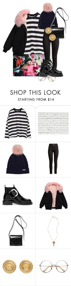 """""""Untitled #211"""" by ksalma ❤ liked on Polyvore featuring Brewster Home Fashions, Burberry, H&M, Maison Margiela, 3.1 Phillip Lim, The Giving Keys and Versace"""
